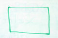 Box outline on whiteboard rectangular in green dry erase marker a used white board Stock Image