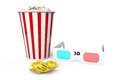 Box of popcorn d glasses and an admit one tickets on a white background Stock Images