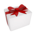 Box with red bow isolated on white d illustration Stock Photo