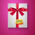 Box, red ribbon, bow and the badge Amazing offer Stock Photo
