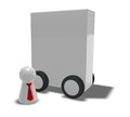 Box on wheels play figur with tie and d illustration Stock Image