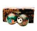 Box with Yin Yang balls Stock Photos