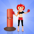 Boxe girl funny illustration of Stock Photos