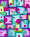 Boxed geometric with dots rounded squares are layered one on top of the other vivid colors of green purple aqua pink and turquoise Stock Images