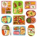 Boxed Lunches Set Royalty Free Stock Photo