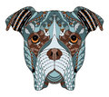 Boxer dog head zentangle stylized, vector, illustration, freehand pencil, hand drawn, pattern. Zen art. Ornate vector. Lace. Colo
