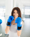Boxer fitness woman boxing wearing boxing gloves instructor punching fun and fresh towards camera beautiful mixed Stock Photography
