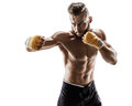 The boxer is ready to deal a powerful blow. Royalty Free Stock Photo