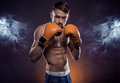 Boxer ready to fight wearing boxing gloves with fists raised smoke background Royalty Free Stock Image