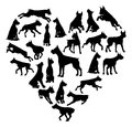 Boxer Dog Heart Silhouette Concept Royalty Free Stock Photo