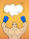 Boxer-style pop art with a bubble over his head. Strong man rais Royalty Free Stock Photo