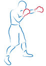 Boxer stylized illustration of a with red gloves Stock Photos