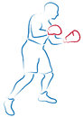 Boxer stylized illustration of a with red gloves Royalty Free Stock Photography