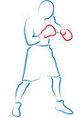 Boxer stylized illustration of a with red gloves Stock Photography