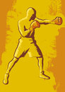 Boxer stylized illustration of a with red gloves Royalty Free Stock Images