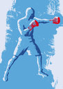 Boxer stylized illustration of a with red gloves Royalty Free Stock Photo