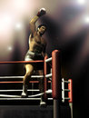 Boxer victory standing on the ropes of the ring celebrating his Stock Image