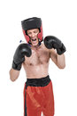 Boxer wearing medal performing boxing stance Royalty Free Stock Photo