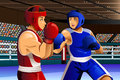 Boxers fighting in ring a vector illustration of for sport competition series Stock Photos
