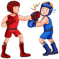 Boxers with headguard and gloves Royalty Free Stock Photo