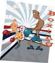 Boxers on a ring. Caricature Royalty Free Stock Photography