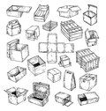 boxes collection, doodles set. vector illustration Royalty Free Stock Photo