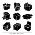 Boxes collection, doodles set. vector illustration.black color Royalty Free Stock Photo