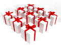 Boxes gift square white Стоковые Фото