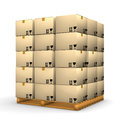 Boxes stacked on pallet Royalty Free Stock Image