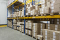 Boxes on a stillage in warehouse Royalty Free Stock Photography
