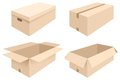 Boxes vector illustration of different of cardboard open and closed Royalty Free Stock Images