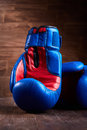 Boxing backgrounds with two blue and red gloves on the wooden plank. Royalty Free Stock Photo