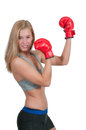 Boxing a beautiful young woman wearing a pair of gloves Royalty Free Stock Photos