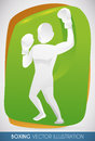 Boxing Champion Silhouette with Hand Up Design, Vector Illustration Royalty Free Stock Photo