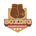 Boxing championship colorful logo label with gloves silhouette