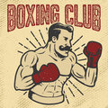 Boxing club. Vintage style boxer on grunge background. Design el