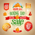 Boxing day sale signs, designs, banners, stickers and coupons. Royalty Free Stock Photo