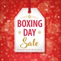 Boxing Day Sale Tag Label on Red Background - Vector Royalty Free Stock Photo