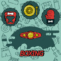 Boxing flat concept icons