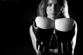Boxing girl posing with gloves Royalty Free Stock Photo