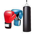 Boxing gloves and bag isolated on white Stock Images