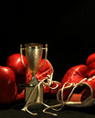 Boxing gloves and a golden cup Stock Photo