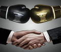 Boxing gloves and a handshake on gray background Royalty Free Stock Photography