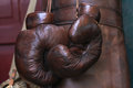 Boxing gloves retro style brown leather Royalty Free Stock Photo