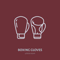 Boxing gloves vector line icon. Box club logo, equipment sign. Sport competition illustration