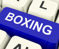 Boxing key show fighting or punching on keyboard showing pugilism Stock Photos