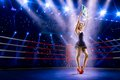 Boxing Ring Girl Is Holding Th...