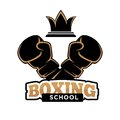 Boxing school club vector icon template of boxer arm in box glove