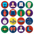 Boxing set icons in flat style. Big collection of boxing vector symbol stock illustration