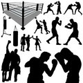 Boxing silhouettes Royalty Free Stock Photos